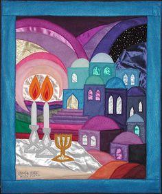 """ Shabbat candles"" Original Felt Tapestry by Bracha Lavee Jewish Crafts, Jewish Art, Good Shabbos, Arte Judaica, Jewish Festivals, Shabbat Candles, Happy Sabbath, Shabbat Shalom, Thinking Day"
