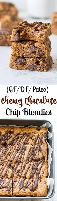 These are the ultimate chewy Paleo chocolate chip blondies, loads with almond butter and and drizzled with more melted chocolate, you won't believe they're grain free, dairy free, and actually good for you! Kid friendly and easy to make.