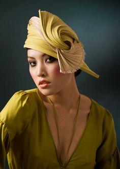 Turban Hat Cocktail hat Buntal Orange Gold