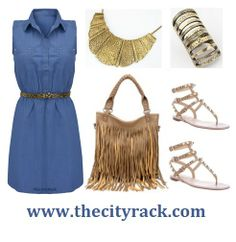 For a feminine alternative to denim jeans, why not try this chic denim dress?, perfect for the transition from spring to summer. The on-trend dress comes with this fashion forward leopard print belt included. Just team with some cool sandals, our super cute tan bag and layers of gold jewellery for the ideal ss14 outfit.