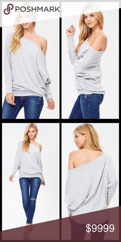 WEEKEND SALE ‼️ Off the Shoulder Dolman Sweater A soft and sexy look for fall. Off the shoulder dolman swearer with long sleeves. Available in two colors and a perfect addition to your wardrobe. A gorgeous Heather gray color. A lightweight sweater with a Poly/ spandex blend. Measurements upon request. Bundle and save 10%. Sweaters Crew & Scoop Necks