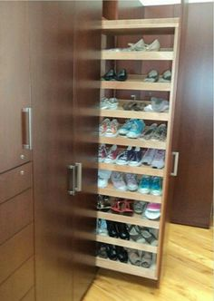 Make shelves adjustable to accommodate boots as well as shoes.