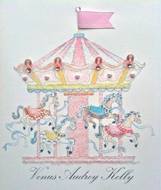 Carousel  Artwork Water colour on Paper Embellished with Sequins, crystal diamanté, Crystal beads and vintage glass glitter. By Kate de Kantzow 2010