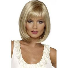 Charming Short Silver Blonde Straight Synthetic Wig With Full Bang For Women