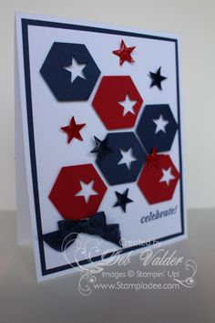 Stampin' Up! ... hand crafted card: Hexagon Honeycomb Punch Art with Deb Valder by djlab  ... red, white and blue ... stars punched out of hexagons .. luv the lively look ...