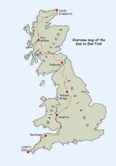 End to End Trail overview map Land's End to John O'Groats