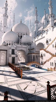 Digital artist's rendering of a mosque, loosely based on Sheikh Zayed Mosque in Abu Dhabi (but way cooler).