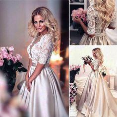 so elegant ! love this boho style champagne wedding dress with lace appliques! #bohoweddingdresses #champagnewedding #princesswedding#romantic weddingdresses #bride #laceweddingdress #satinweddingdress