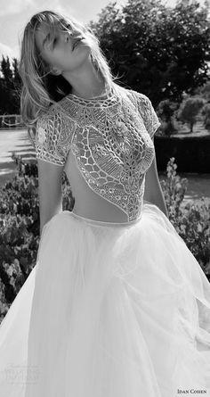 idan cohen bridal 2017 cap sleeve jewel neck beaded bodice ball gown wedding dress (carla the river) zv