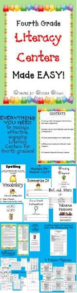 Everything you need to implement engaging, student-driven literacy centers for fourth grade in a simple menu format!