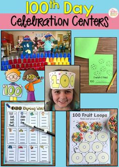 These day of school fun activities are easy to prep celebration centers for kindergarten, first, and second grade students! # Parenting indiretas FREE Day of School Activity & Teaching Ideas 100 Day Of School Project, School Fun, School Projects, 100th Day Of School, School Stuff, School Holidays, Montessori Activities, Kindergarten Activities, Fun Activities