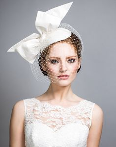 Rachel Trevor Morgan Millinery - Bridal R1505 Silk taffeta teardrop with standing bow and face veil