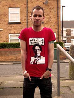 "Emma Goldman ""with speech as my weapon"" stencil T-shirt"