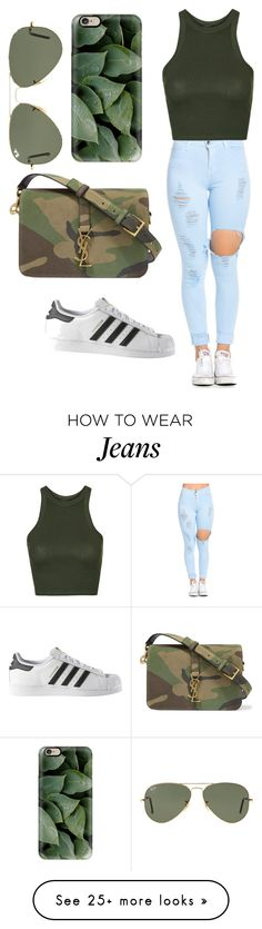 """""""Untitled #286"""" by deamolla on Polyvore featuring Topshop, adidas, Yves Saint Laurent, Ray-Ban and Casetify"""