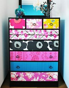 Update an Old Dresser with Colorful Wallpaper and get Outstanding Results!