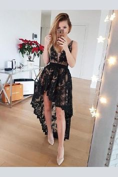 Hot Sale Glorious Black Prom Dress Black Lace High Low Homecoming Dresses A Line V Neck Vintage Prom Dress High Low Prom Dresses, Lace Homecoming Dresses, Black Prom Dresses, Lace Dress Black, Casual Dresses, Short Dresses, Dress Lace, Dress Prom, Wedding Dresses