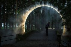 """[orginial_title] – Mauricio Cordel A Sculptural Arch Of Mist Has Been Installed In Japan Australian artist James Tapscott was commissioned by the Japan Alps Art Festival to great a site-specific art piece, which he named """"ARC ZERO – NIMBUS"""". Landscape Architecture, Landscape Design, Architecture Design, Bühnen Design, Landscape Lighting, Land Art, Art Festival, Light Art, Public Art"""