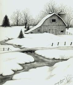 Winter barn - pencil drawing