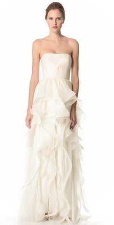 Reem Acra lilac gown, floral petal chiffon wedding gown