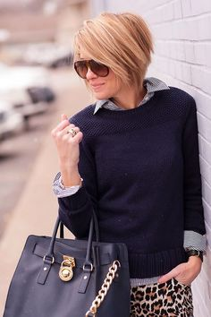 "sweater (Lilla P c/o), denim (Kate Spade last seen HERE, love THESE POLKAS), blouse (J.Crew), shoes (Jeffrey Campbell, how fun are THESE), bag (Michael Kors), watch (Cartier), ring (Anna Beck, David Yurman), shades (Gucci), bracelets (Sylvia Benson c/o) Really this post could have also been entitled, ""Head to Toe Neutrals,"" because let's be honest, navy, stripes, and leopards …:"