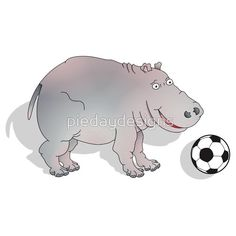 Hippo with Football onsie for baby boy. A cute cartoon Hippopotamus playing with a black and white football.