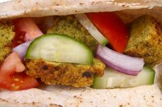 What is falafel, exactly? Falafel ARE deliciously seasoned chickpea croquettes, vegetarian meatballs, commonly served in warm pita bread with chopped salad and tahini sauce. Have a falafel party! Falafel, Salsa, Tacos, Mexican, Ethnic Recipes, Party, Food, Cucumber, Recipes