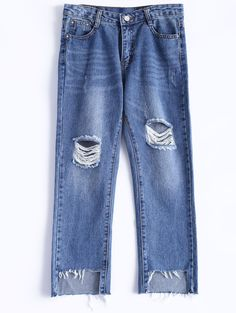 Ultimate Distressed Bleach Wash Ripped Cropped Jeans