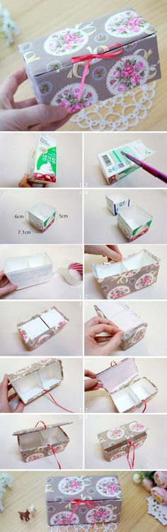 Fabric Box Tutorial is part of Fabric boxes - DIY Upcycled Milk Carton Storage Box Tutorial in Pictures Fabric Boxes Tutorial, Tutorial Diy, Decoupage Tutorial, Diy Storage Boxes, Craft Storage, Storage Ideas, Fabric Storage, Milk Carton Crafts, Milk Cartons