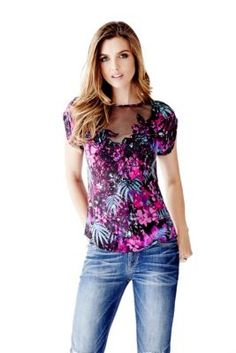 Short-Sleeve Embroidered Top | GUESS.com