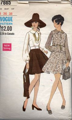 Vogue 7665  1960s Misses Mod Flared Skirt, Sleeveless Jacket and Blouse womens vintage sewing Pattern by mbchills