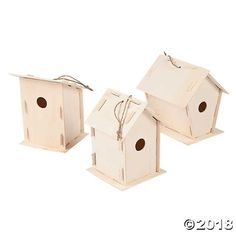 Do It Yourself birdhouses for whimsical country decorations! Made of slotted natural wood for easy assembly of this fun DIY wood craft. Includes twine for ...