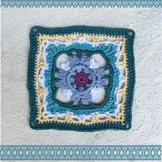 Here is the pattern for Moroccan crochet square #3 Colours used: Vinnis Colours Nikkim DK (50 g balls): Baby Yellow, Kingfisher, Cloud Blue, Green Slate, Aubergine and White. Crochet Hook: 3,25 mm  Abbreviations (American Terminology) and stitch explanations : beg = begin, ch = chain, cl = cluster, dc = double crochet, hdc = half double crochet, rep = repeat, rnd = round, sc = single crochet, ss = slip stitch, sp = space, st = stitch, tr...