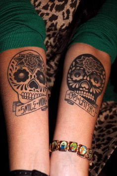 10 skulls arm tattoo http://hative.com/smile-now-cry-later-tattoos/