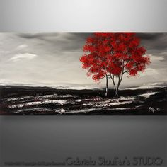 """Abstract Painting, Original Painting Wall Art, Landscape Painting, Tree Painting, Palette Knife, Black White red painting, Wall Decor, 48"""""""