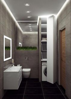 Loft-style apartment in the Chekhov House LCD, city of Ros . - Loft-style apartment in Chekhov House residential complex, Rostov-on-Don. Small Bathroom Storage, Bathroom Design Small, Laundry In Bathroom, Bathroom Interior Design, Modern Bathroom, Laundry Rooms, Boho Bathroom, Interior Doors, Bathroom Art