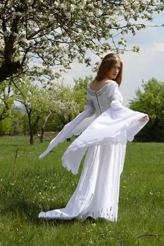 Exclusive white wedding medieval dress with handmade Celtic style embroidery, ArmStreet styling. Available in: white cotton, silver , gold Renaissance Wedding Dresses, Medieval Wedding, Renaissance Clothing, Peasant Clothing, Chiffon, Medieval Dress, Lolita Dress, Mother Of The Bride, Bridal Dresses