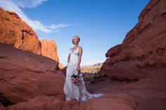 Bride in vintage wedding dress at Valley of Fire near Las Vegas. Outdoor weddings available at Chapel of the Flowers