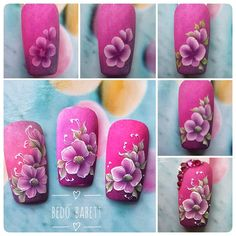 48 ideas fails art paso a paso one stroke Uñas One Stroke, One Stroke Nails, Flower Nail Designs, Diy Nail Designs, Gel Polish Designs, Fruit Nail Art, Water Color Nails, Vintage Nails, Nails First