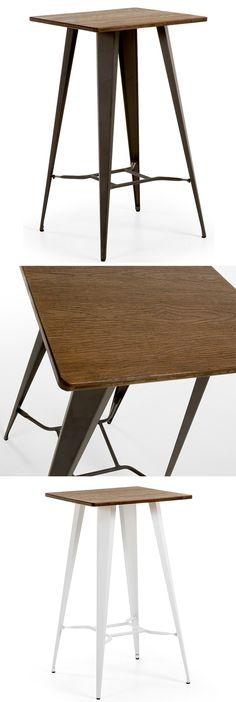 Mesa alta Aira · Tall Table Aira 104x60x60 Diseñada en acero con pintura electroestática y sobre de madera tratada para interior y exterior. Disponible con patas negras y blancas. Ideal para tu hogar o restaurante. Estilo industrial www.armonyspace.com
