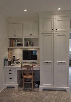 Super Home Office Cabinets Built Ins Desk Areas Ideas Office Built Ins, Built In Desk, Built In Cabinets, Tall Cabinets, Filing Cabinets, Stock Cabinets, Storage Cabinets, Kitchen Desk Areas, Kitchen Desks