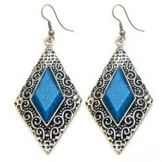 $2.71 Pair of Classic Gemstone Embellished  Prismatic Figure Earrings For Women