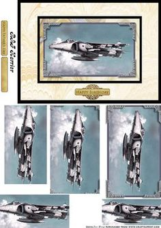 Harrier Jump Jet on Craftsuprint designed by June Young - RAF Harrier jump jet. Here mounted on marble backing papers and suitable for any male occasion, birthday - father's day - retirement etc. - Now available for download!