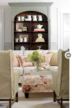 Unify disparate furniture colours (like the blush pink and sage green used here) with a neutral backdrop that has undertones of both colours. Style at Home Style At Home, Home Living Room, Living Spaces, Cottage Living, Armoire, Interior Decorating, Interior Design, Decorating Ideas, Colorful Furniture