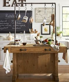 Kitchen Island Rustic zinc-topped kitchen island #anthropologie | kitchen | pinterest