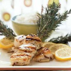 Grilled Scallop Recipes | Diver Scallops Grilled on Rosemary  | MyRecipes