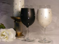 bride and groom wine glasses in black and white with Swarovski crystals - beautiful and elegant!
