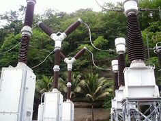 SF6 circuit breakers in a high voltage switchyard