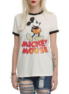 Disney Mickey Mouse Vintage Girls Ringer T-Shirt