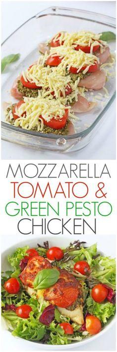 MOZZARELLA TOMATO & BASIL PESTO CHICKEN – Medi Idea