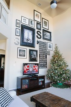 Living With Kids: Candice Stringham home tour. What a great way to fill a tall wall.